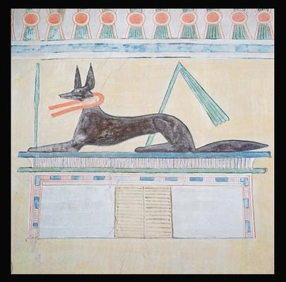 Anubis, Egyptian god of the dead, lying on top of a sarcophagus, wall painting in the Valley Temple of the Pyramid of Menkaure, Old Kingdom, c.2613-2494 BC