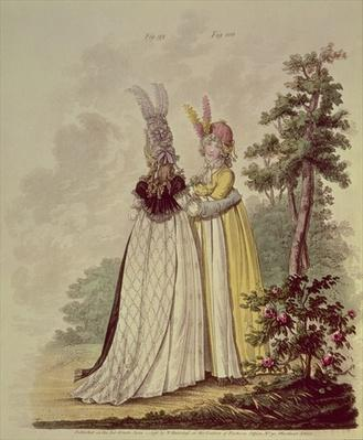 Walking dresses from N. Heideloff's `Gallery of Fashion', 1796