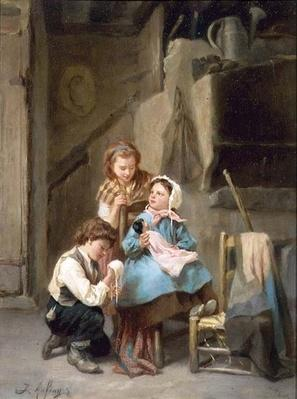 Dressing the Dolly by Aufray, Joseph-Athanase (1836-1876)