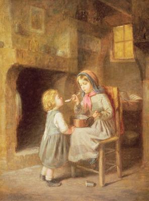 Young Girl Feeding a Toddler