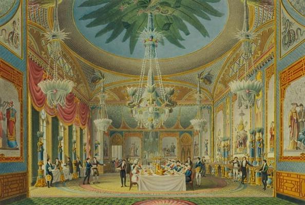 The Banqueting Room, from 'Views of the Royal Pavilion, Brighton' by John Nash