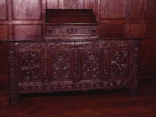 Inlaid coffer, with architectural motifs, late 16th century