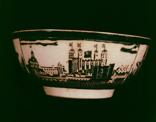 Delft plate with views of the Tower of London, side view, c.1600