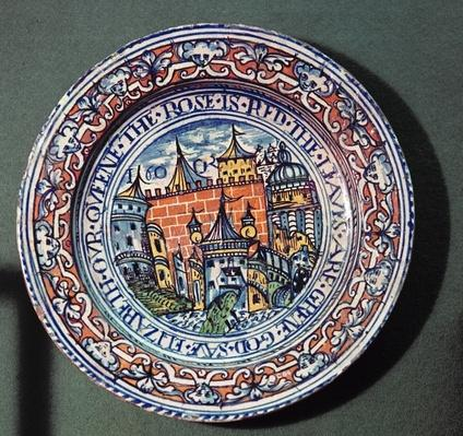 Delft plate with views of the Tower of London, from above, c.1600