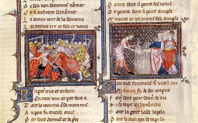 Ms 1044 fol.20 Jupiter versus Saturn: Saturn teaching the Lombards how to use a sickle, from Ovide Moralise written by Chretien Legouais