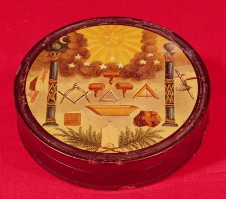 Oval painted box, with symbols of Freemasonry