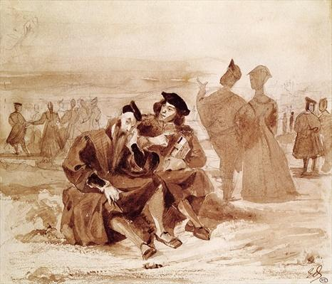 Faust and Wagner in conversation in the countryside, from 'Faust' by Johann Wolfgang von Goethe