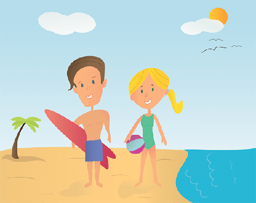 Boy and Girl at the Beach | Clipart