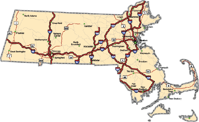 Massachusetts Highway Map  | Clipart