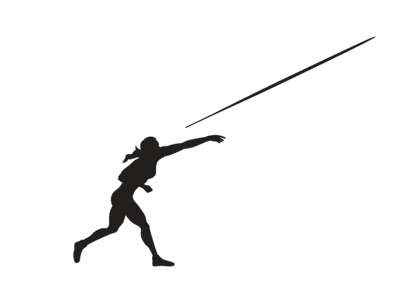 Women's Javelin - Delivery, B&W | Clipart