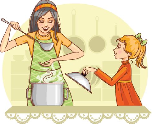 Mother and Daughter Tests Food in The Kitchen | Clipart