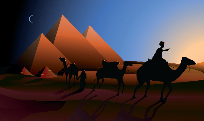 Bedouin Caravan Camels Against Over Pyramids | Clipart