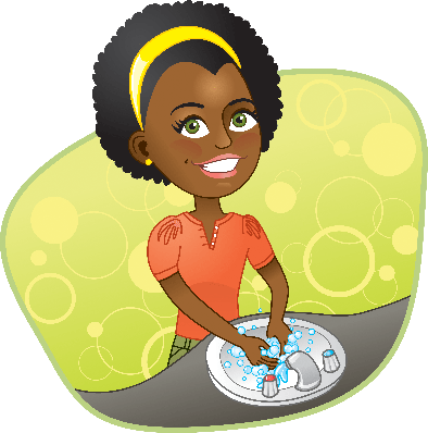 Girl Washing Her Hands in the Sink | Clipart