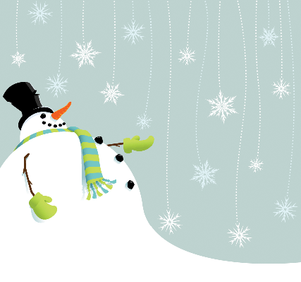 Snowman Catching Snowflakes | Clipart