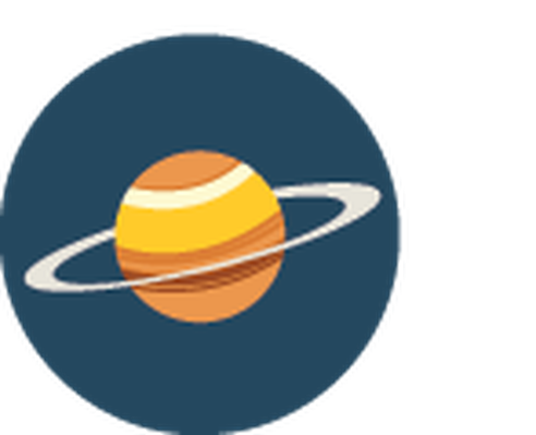 Science Icons - Yellow and Blue - Saturn | Clipart