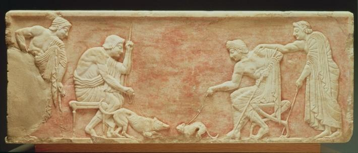 Animal baiting, relief from a statue base found in the Dipylon cemetery, Athens, c.510 BC