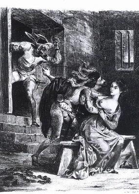 Faust rescues Marguerite from her prison, from Goethe's Faust, 1828,