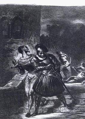 Mephistopheles and Faust escaping after Valentine's Death, from Goethe's Faust, 1828,