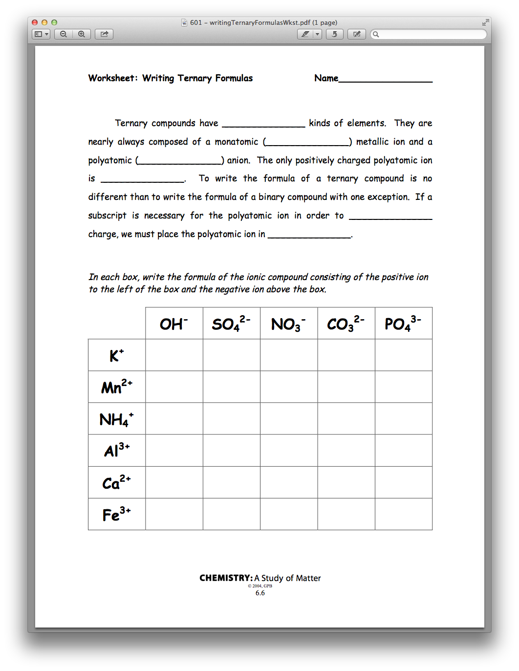 Chemistry Chapter 06, Lesson 01 - Ionic Formula Writing | PBS ...