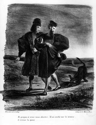 Faust and Wagner, Illustration for Faust by Goethe, 1828