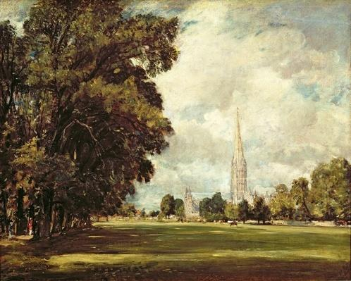 Salisbury Cathedral from Lower Marsh Close, 1820