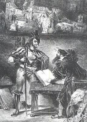 First Meeting between Faust and Mephistopheles: `Why all this Noise?', from Goethe's Faust, 1828,