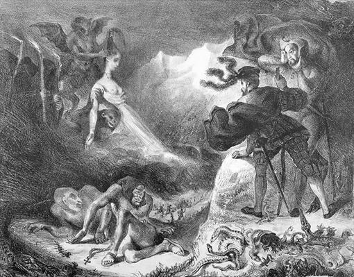 Faust and Mephistopheles at the Witches' Sabbath, from Goethe's Faust, 1828,