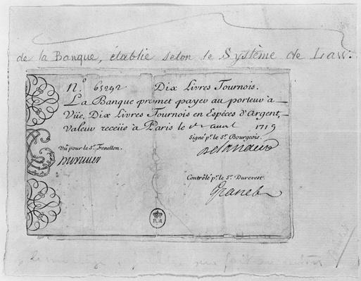 French banknote for ten pounds from the Law Bank, dated 1st April 1719