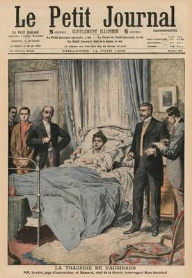 The Tragedy of Vaugirard, questioning Marguerite Steinheil, front cover illustration from 'Le Petit Journal', supplement illustre, 14th June 1908