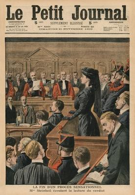 The end of a sensational trial, Marguerite Steinheil listening to the verdict, front cover illustration from 'Le Petit Journal', supplement illustre, 21st November 1909