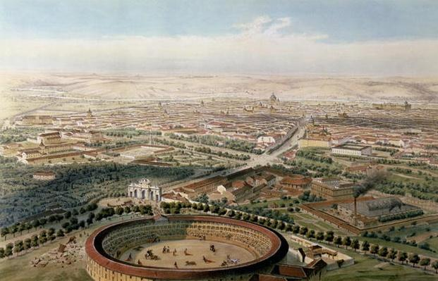 Aerial View of Madrid from the Plaza de Toros, 1854