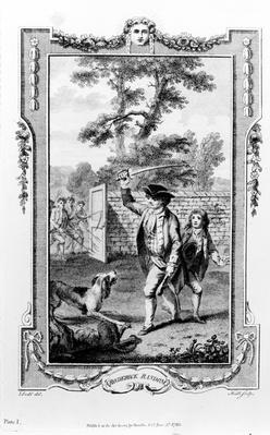 Roderick Random's uncle is attacked by dogs, illustration from 'Roderick Random' by Tobias Smollett, engraved by James Heath, 1780