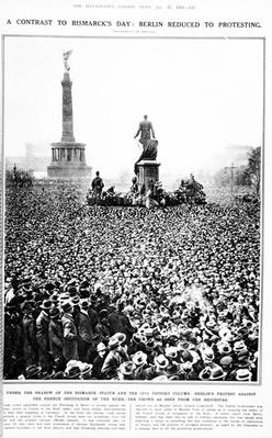 'Berlin reduced to Protesting', crowds gather outside the Reichstag to protest against the Franco-Belgian occupation of the Ruhr, from 'The Illustrated London News', January 27th 1923