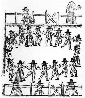 A round dance, an illustration from 'A Book of Roxburghe Ballads'
