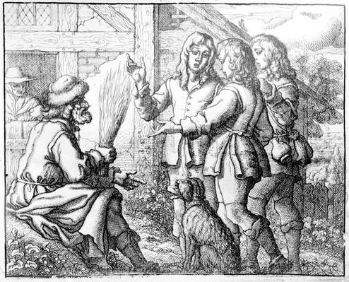 The Old Man and his Sons, illustration from 'Aesop's Fables', 1666