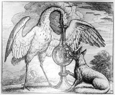 The Fox and the Stork, illustration to 'Aesop's Fables', 1666