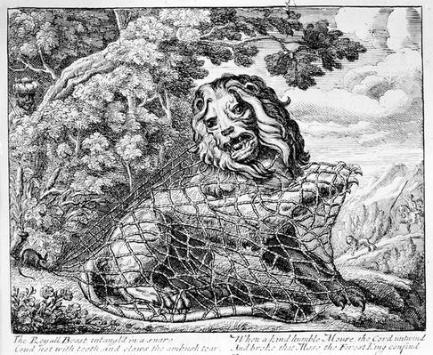 The Lion and the Mouse, illustration to 'Aesop's Fables', 1687