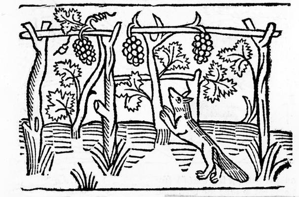 The Fox and the Raisins, illustration from Caxton's 'Aesop's Fables', 1484