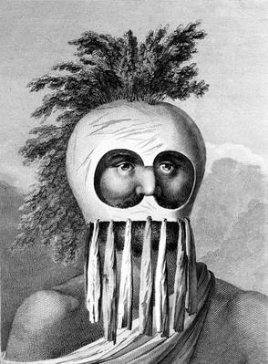 A Man of the Sandwich Islands in a Mask, illustration from 'A Voyage to the Pacific', engraved by Thomas Cook, 1784