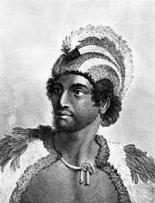 Portrait of Kaneena, a Chief of the Sandwich Islands in the North Pacific Ocean, engraved by Ambrose William Warren