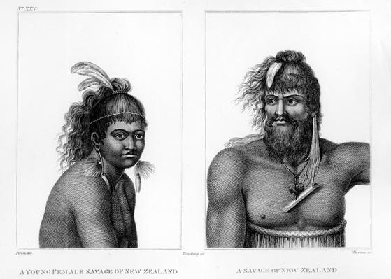 Two Savages of New Zealand, illustration from Labillardi�re's 'An Account of A Voyage in search of La Perouse', engraved by Charles Turner Warren, 1800