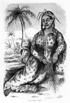 Queen Pomare IV of Tahiti, illustration from Eugene Delessert's 'Voyages dans les deux oceans', 1848