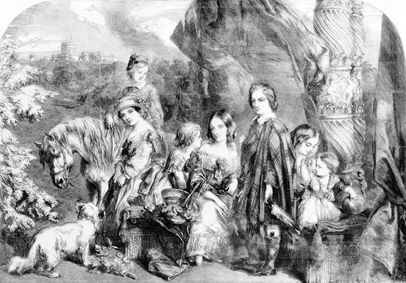 The Queen and Her Children at Windsor Great Park, from the 'Illustrated London News', 1852