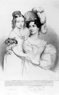 Queen Victoria and her mother Princess Victoria, Duchess of Kent and Strathearn, engraved by Richard James Lane, 1834