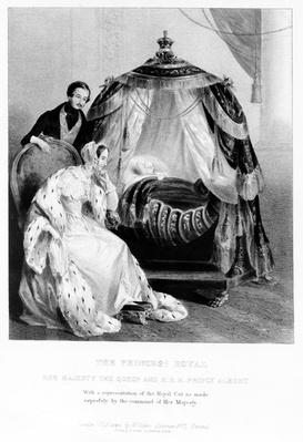 The Princess Royal, Her Majesty the Queen and HRH Prince Albert, with the royal cot, c.1840