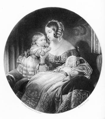 The Queen, The Princess Royal and The Prince of Wales, engraved by R. Piercy, 1842