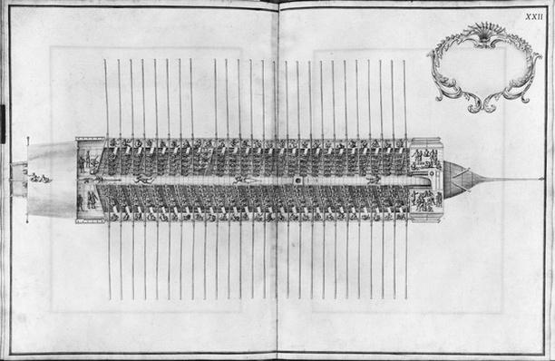 Building, equipping and launching of a galley, view from above of a galley, plate XXII