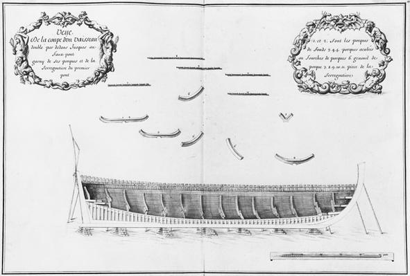 Cross-section of a vessel lined inside up to the false deck, illustration from the 'Atlas de Colbert', plate 13