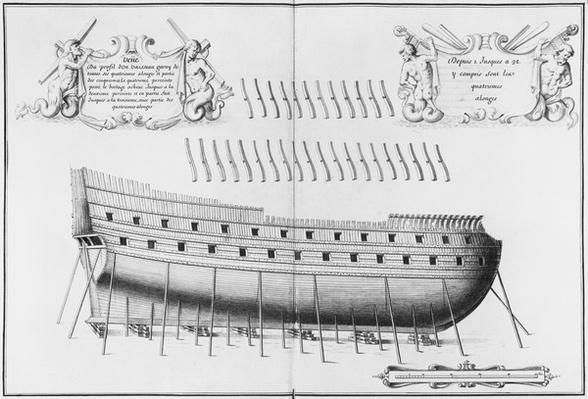 Profile of a vessel, illustration from the 'Atlas de Colbert', plate 26