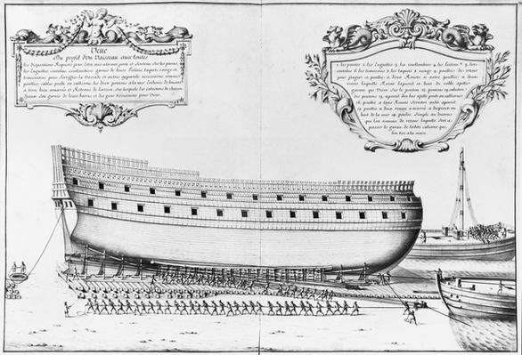Profile of a vessel getting ready to launch, illustration from the 'Atlas de Colbert', plate 29